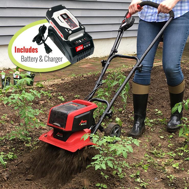 Mantis-Cordless-Tiller-58V-3558-cultivating-tomato-plants