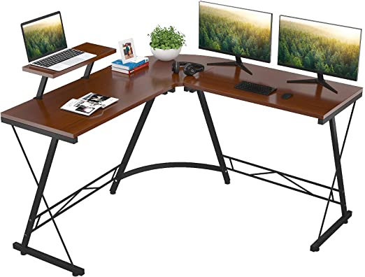 Foxemart L Shaped Home Office Desk with Large Monitor Shelf