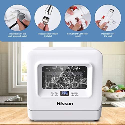 HISSUN Compact Portable Countertop Dishwasher